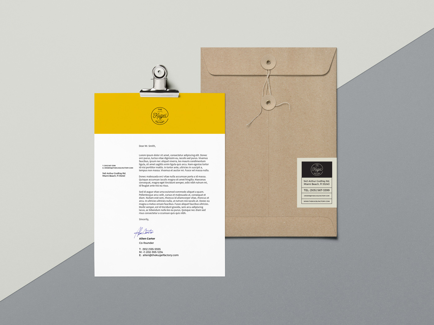 The Kugel Factory Card Business Letterhead